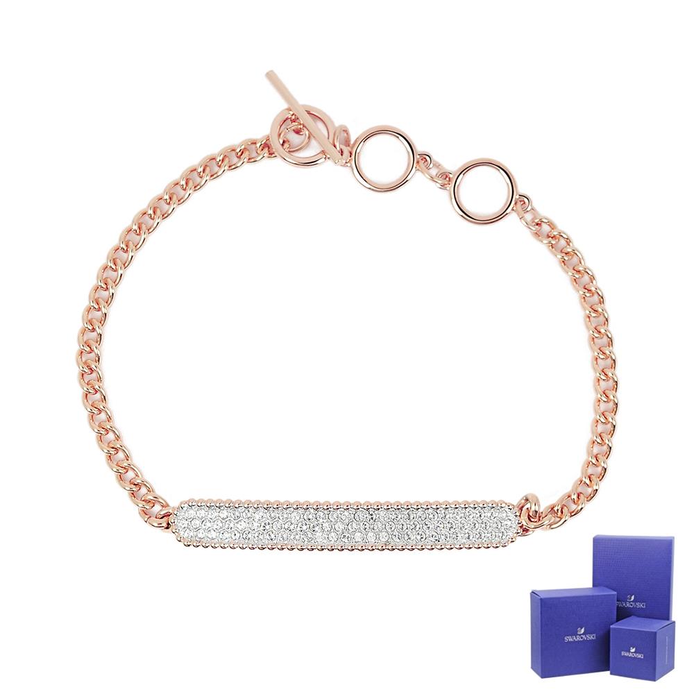 SWAROVSKI 施華洛世奇 Locket Bar璀璨水晶玫瑰金手鍊手環
