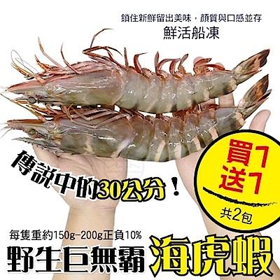 (買1送1)【海陸管家】巨無霸比臉大海虎蝦(每隻150g-200g) 共2隻