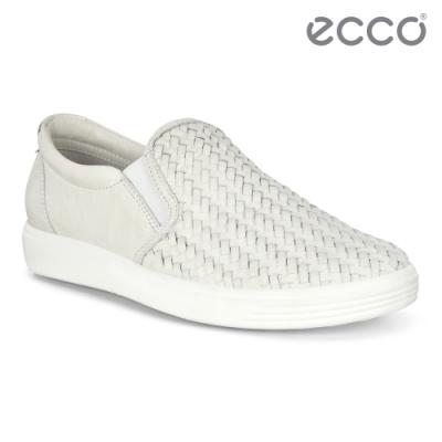 ECCO SOFT 7 W 質感編織輕巧休閒鞋 女鞋-米白