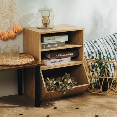 樂嫚妮 收納櫃/置物櫃/玩具櫃/二層空櫃-2入組-楓木色