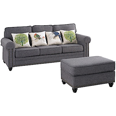 文創集 巴卡卡現代法式亞麻布L型沙發組合(三人座+椅凳)-210x173x96cm免組