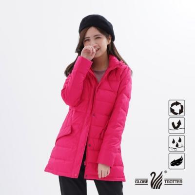 【遊遍天下】女款中長版顯瘦防風防潑禦寒羽絨外套GJ22021玫紅