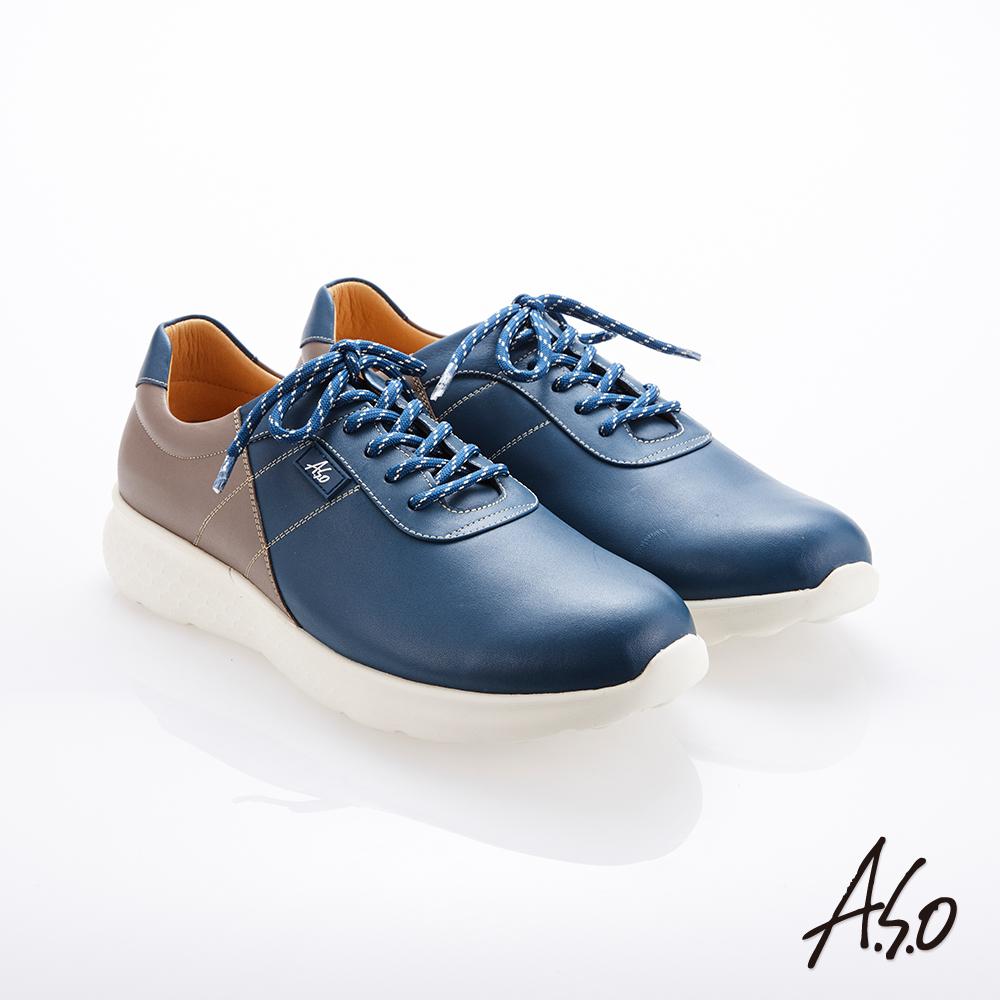 A.S.O霸足氣墊 綁帶拼色牛皮氣墊休閒鞋 藍
