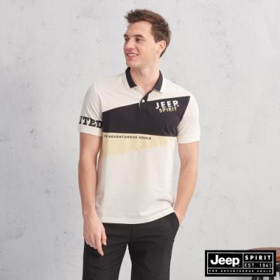 JEEP HiCool吸濕排汗運動Polo衫-白色