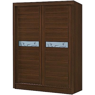 綠活居 麥柏斯4尺推門衣櫃/收納櫃(吊桿+穿衣鏡+二抽屜)-120x60x200cm-免組