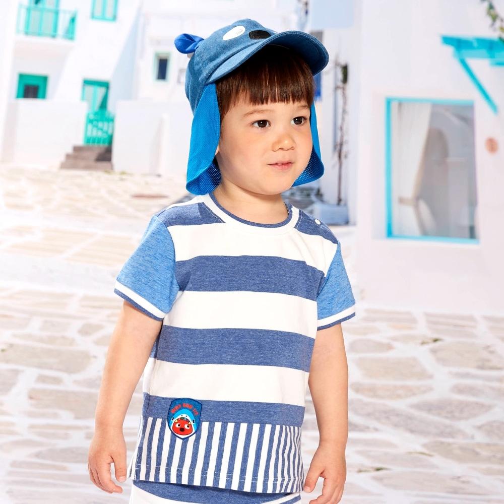 WHY AND 1/2 mini 花紗條紋棉質萊卡T恤-親子裝 1Y ~ 4Y (深藍)