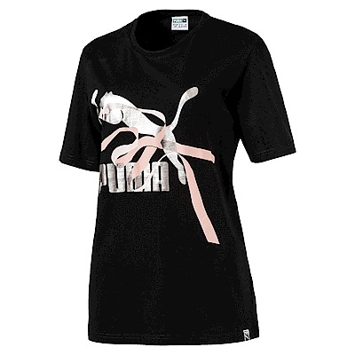 PUMA-女性流行系列絲帶No.1 Logo短袖T恤-黑色-亞規