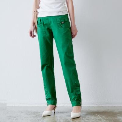 KT 造型修身純棉直筒褲- 綠色
