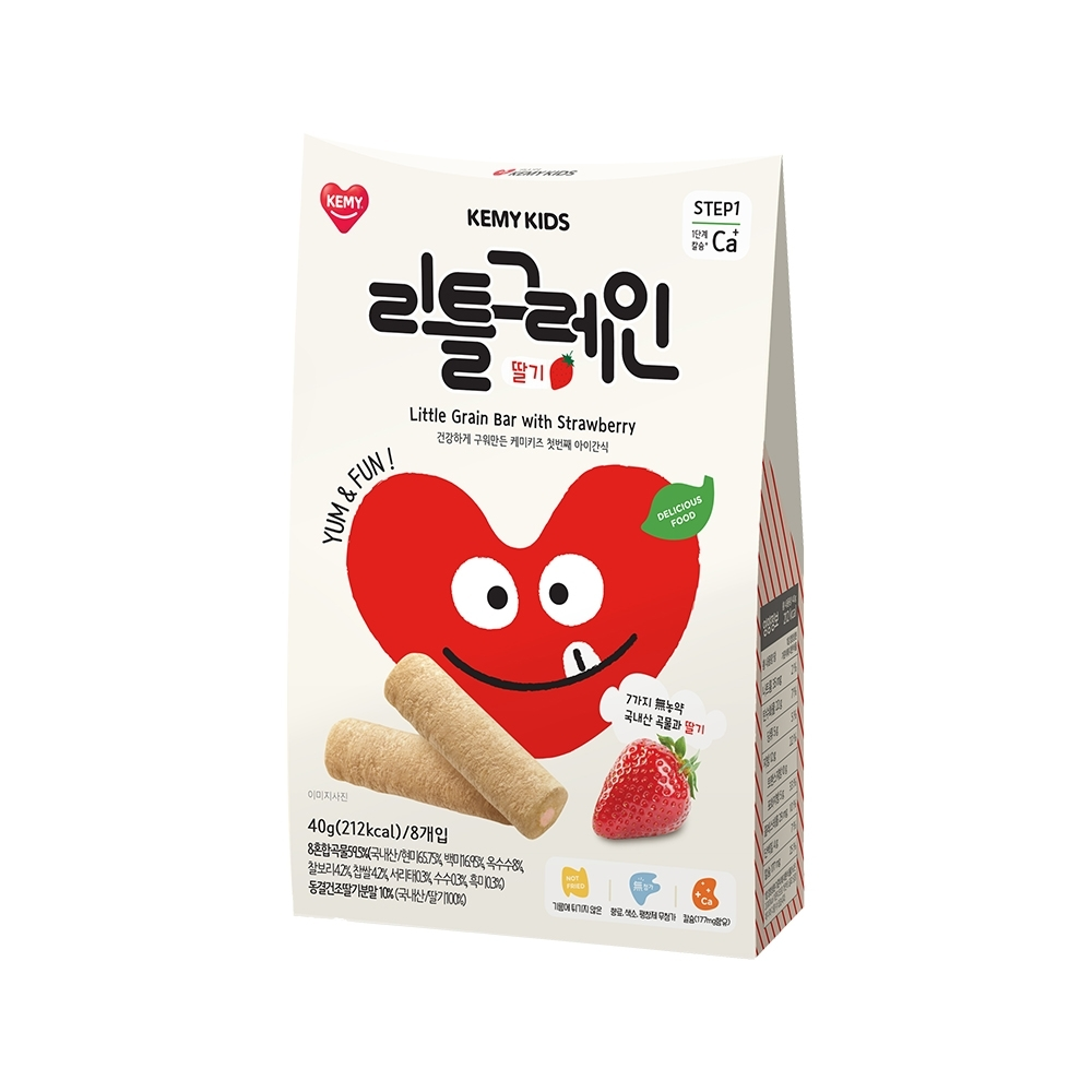 韓國【KEMY KIDS】貪吃凱米穀物小捲心 草莓(40g)