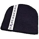 BURBERRY 品牌 LOGO圖騰飾帶羊毛翻折套頭帽(黑色)