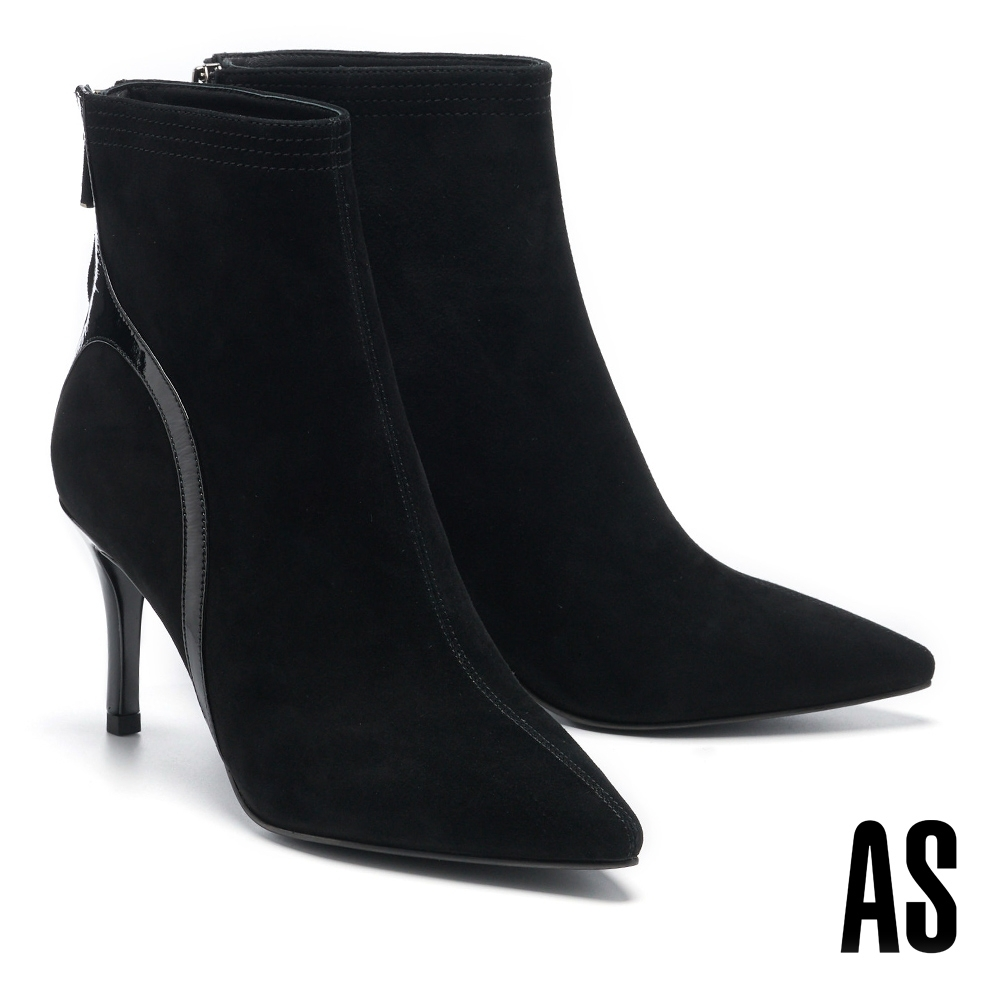 短靴 AS 時髦俐落異材質拼接全真皮尖頭高跟短靴-黑