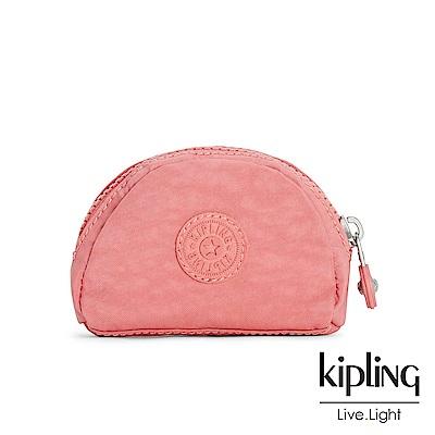 Kipling薔薇粉渲染素面配件零錢包