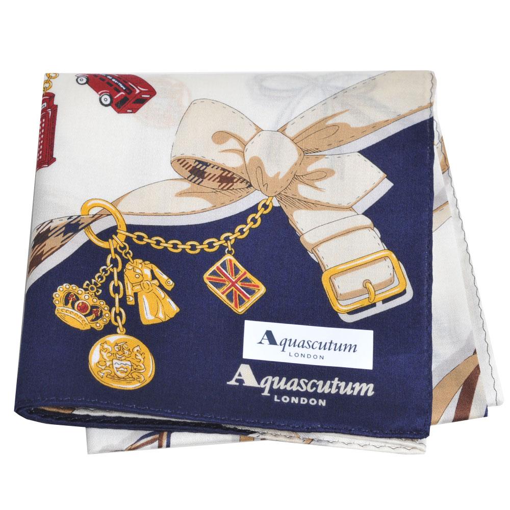 Aquascutum 品牌穿鍊吊飾圖騰字母LOGO帕領巾(百合白/深藍) @ Y!購物