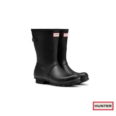 HUNTER - 女鞋-可調整扣帶霧面短靴 - 黑