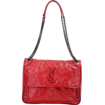 YSL Saint Laurent NIKI 中款 揉製小牛皮仿舊銀鍊翻蓋肩背包(紅色)