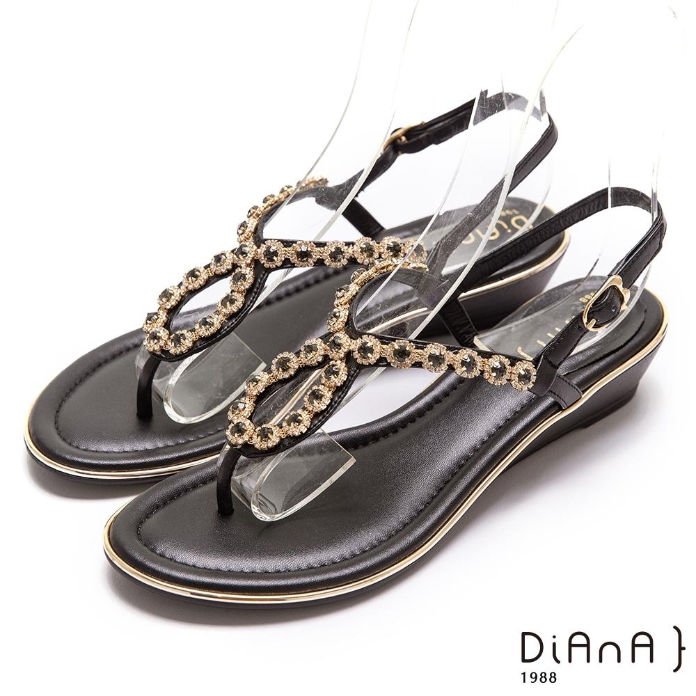 DIANA奢華耀眼水鑽3.5公分經典繫帶圓頭楔型低跟涼鞋-閃耀動人–黑