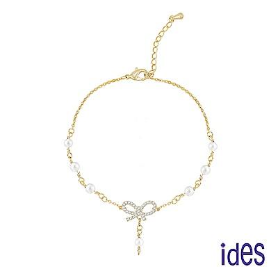 ides愛蒂思 時尚輕珠寶淡水貝珠手鍊/浪漫蝴蝶結