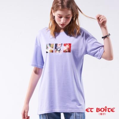 箱子-BLUE WAY-雕刻印象長版短TEE(紫)