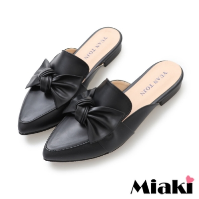 Miaki-穆鞋鞋可愛蝴蝶尖頭平底鞋-黑