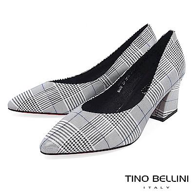 Tino Bellini 復刻摩登幾何千鳥紋V型尖楦跟鞋 _ 格紋