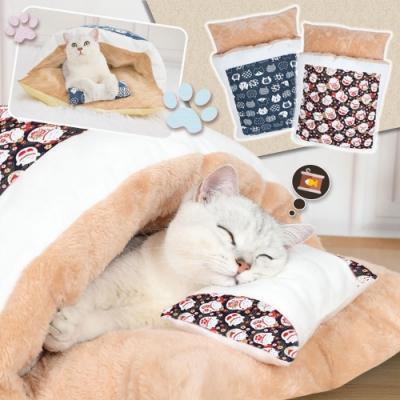和風貓咪寵物睡袋睡窩(M號)55x40cm