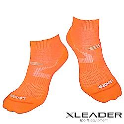 LEADER COOLMAX 女款 運動專用薄型除臭 機能襪 亮橘