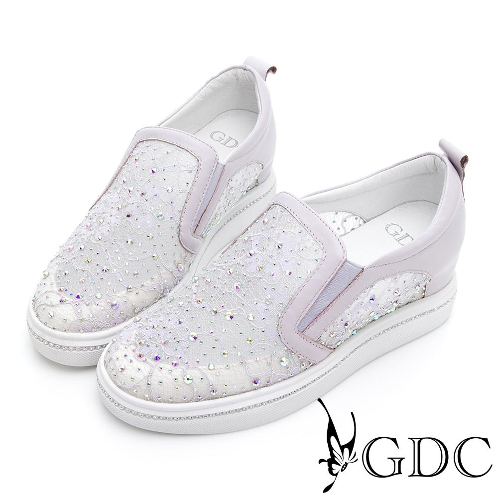 GDC-芭蕾之夢蕾絲透膚水鑽真皮厚底休閒鞋-紫色