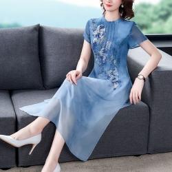 中國風時尚珠鑽改良版旗袍雪紡洋裝L-3XL(共二色)-REKO
