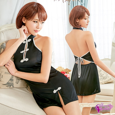 Sexy Cynthia魅惑黑色美背旗袍角色扮演服-黑F