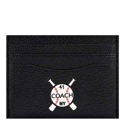 COACH 黑色荔枝紋皮革證件名片夾
