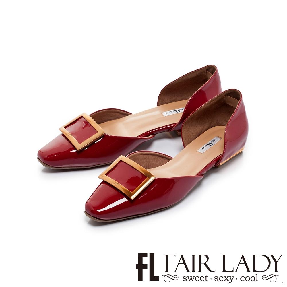 FAIR LADY  優雅小姐 金屬方釦漆面平底鞋 勃根地