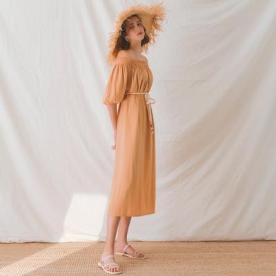 AIR SPACE LADY 一字領鬆緊寬鬆綁帶洋裝(橘)