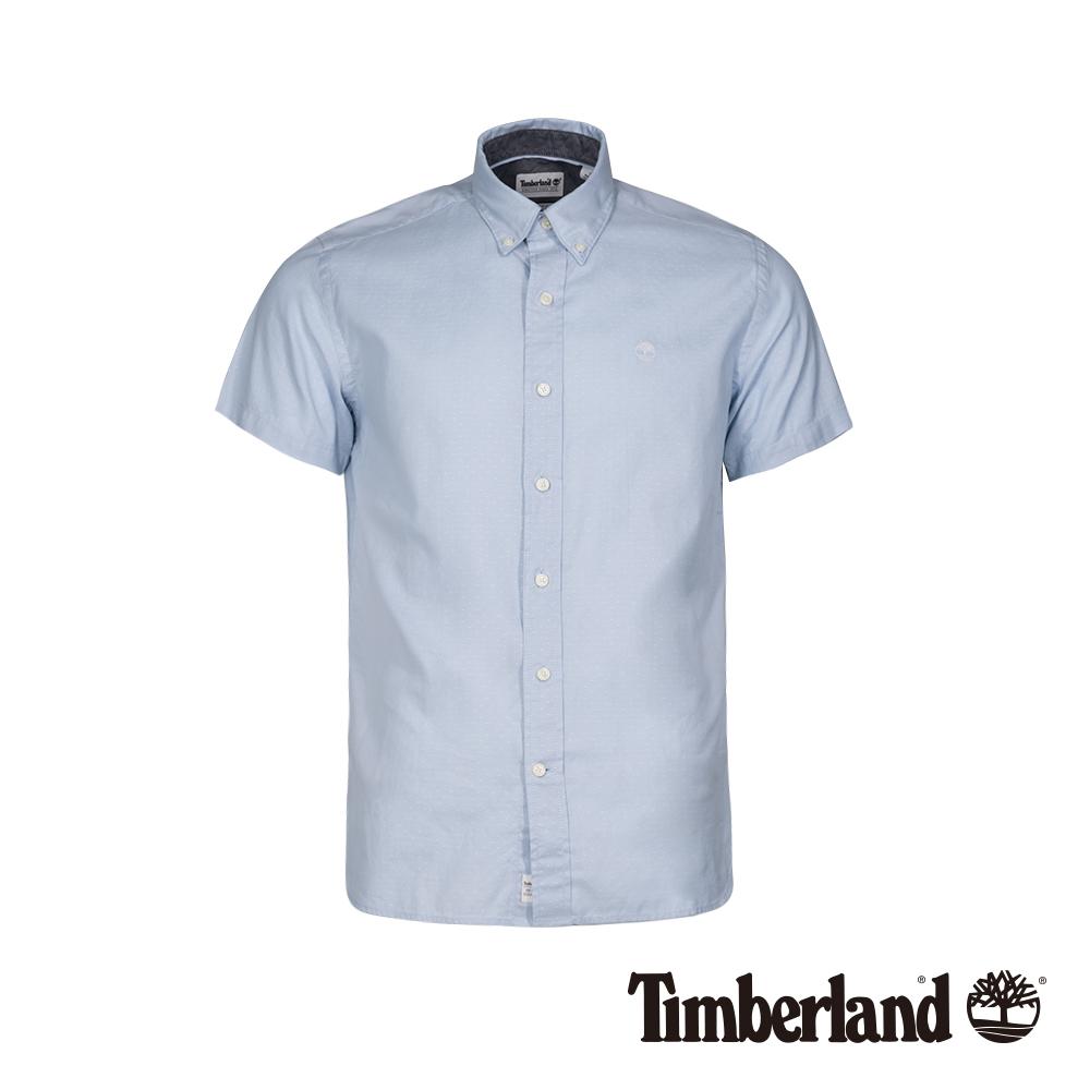 Timberland 男款天際藍色修身牛津紡短袖襯衫 A1WSW
