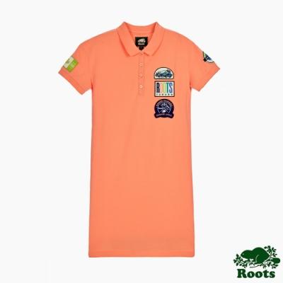女裝-ROOTS霓虹貼布polo寬鬆洋裝-橘
