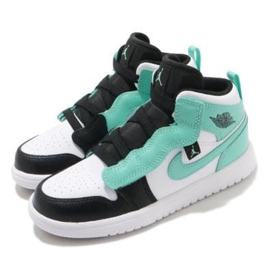 Nike 休閒鞋 Jordan 1 Mid Alt PS 童鞋 蒂芬妮綠 魔鬼氈 皮革 黑 綠 AR6351132