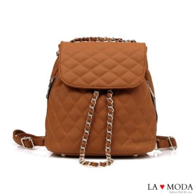 La Moda 一秒換背法~小香風菱格紋大容量多背法肩背斜背後背包(棕)