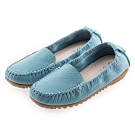 G.Ms. MIT系列-厚實牛皮莫卡辛休閒鞋-水藍