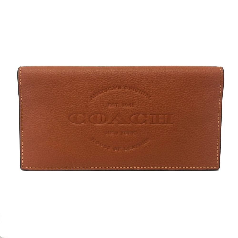 COACH 中性男款多卡片夾層牛皮對折長夾(棕)