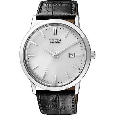 CITIZEN 星辰 Eco-Drive 光動能復刻手錶-銀x黑/40mm