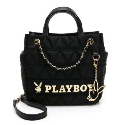 PLAYBOY-  鍊帶肩背包可手提 金典小兔系列 -黑色