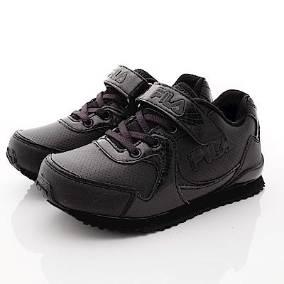 FILA頂級童鞋款 私校純黑慢跑款 FO19R-000黑(中大童段)