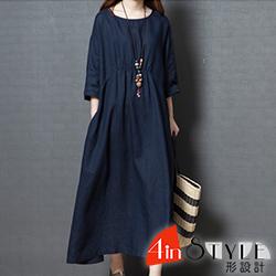 小清新圓領抓皺長款洋裝 (共二色)-4inSTYLE形設計
