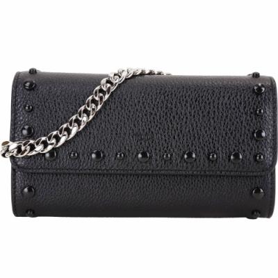 TOD'S 荔枝紋牛皮豆豆裝飾手提手機袋/長夾(黑色)