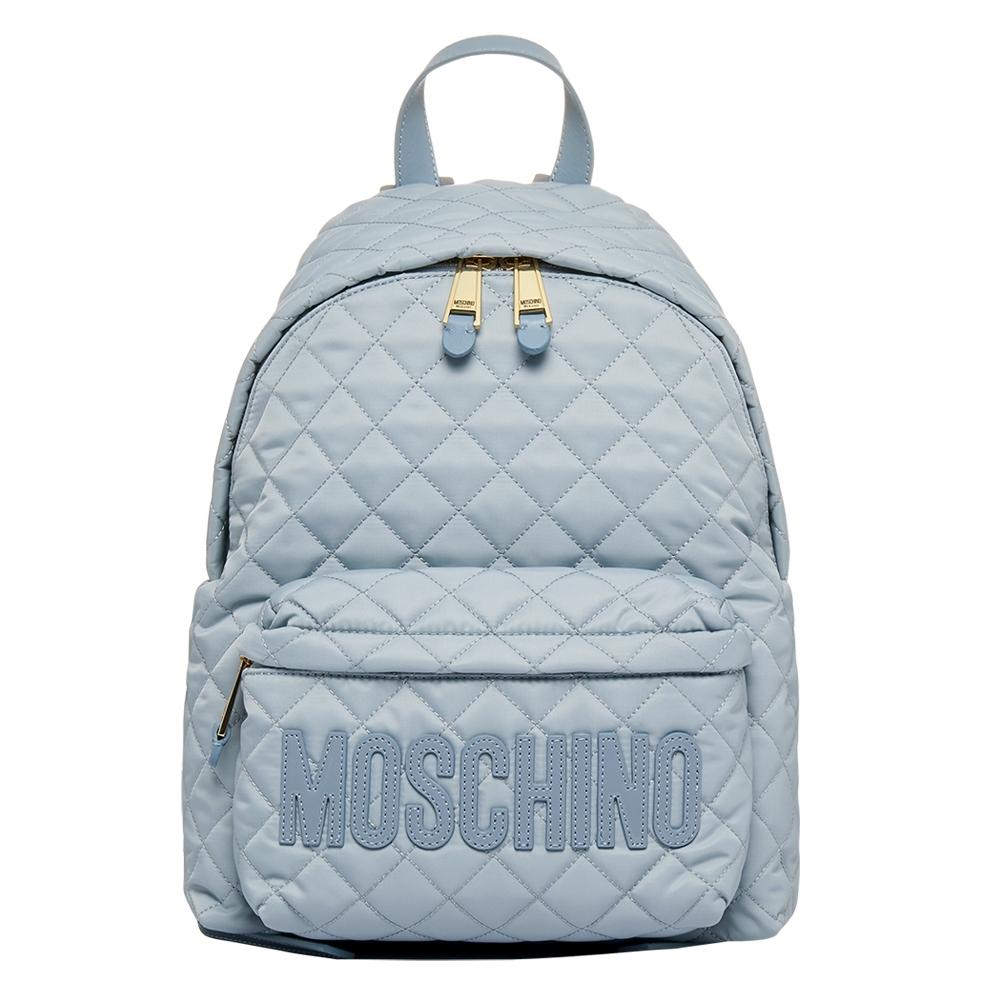 MOSCHINO 菱格紋後背包 -中型-藍色