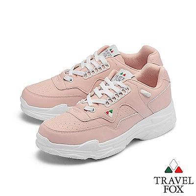 TRAVEL FOX(女) 時光機 高底輕量復刻休閒運動老爹鞋 - 十八粉