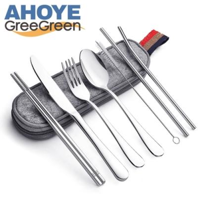 GREEGREEN 不鏽鋼餐具套裝 8件入