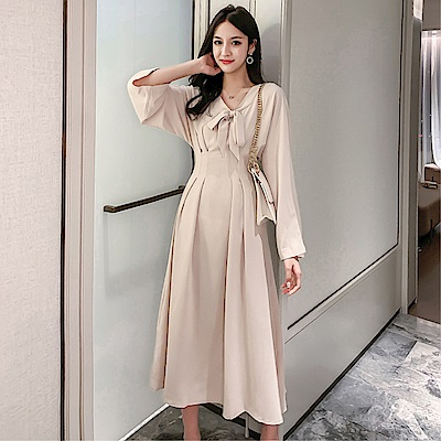 DABI 韓國風復古蝴蝶結領收腰顯瘦氣質長袖洋裝