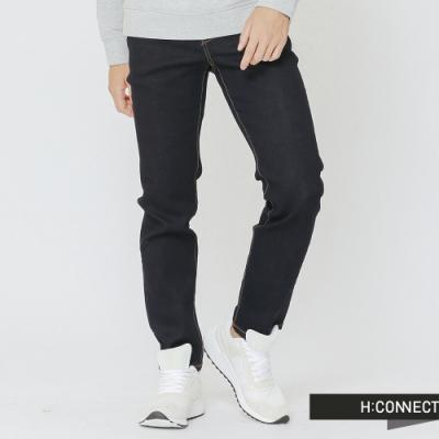 H:CONNECT 韓國品牌 男裝-縫線配色直筒牛仔褲-藍(快)