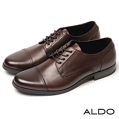 ALDO 原色真皮鞋面雙車線綁帶式粗跟男皮鞋~內斂深咖