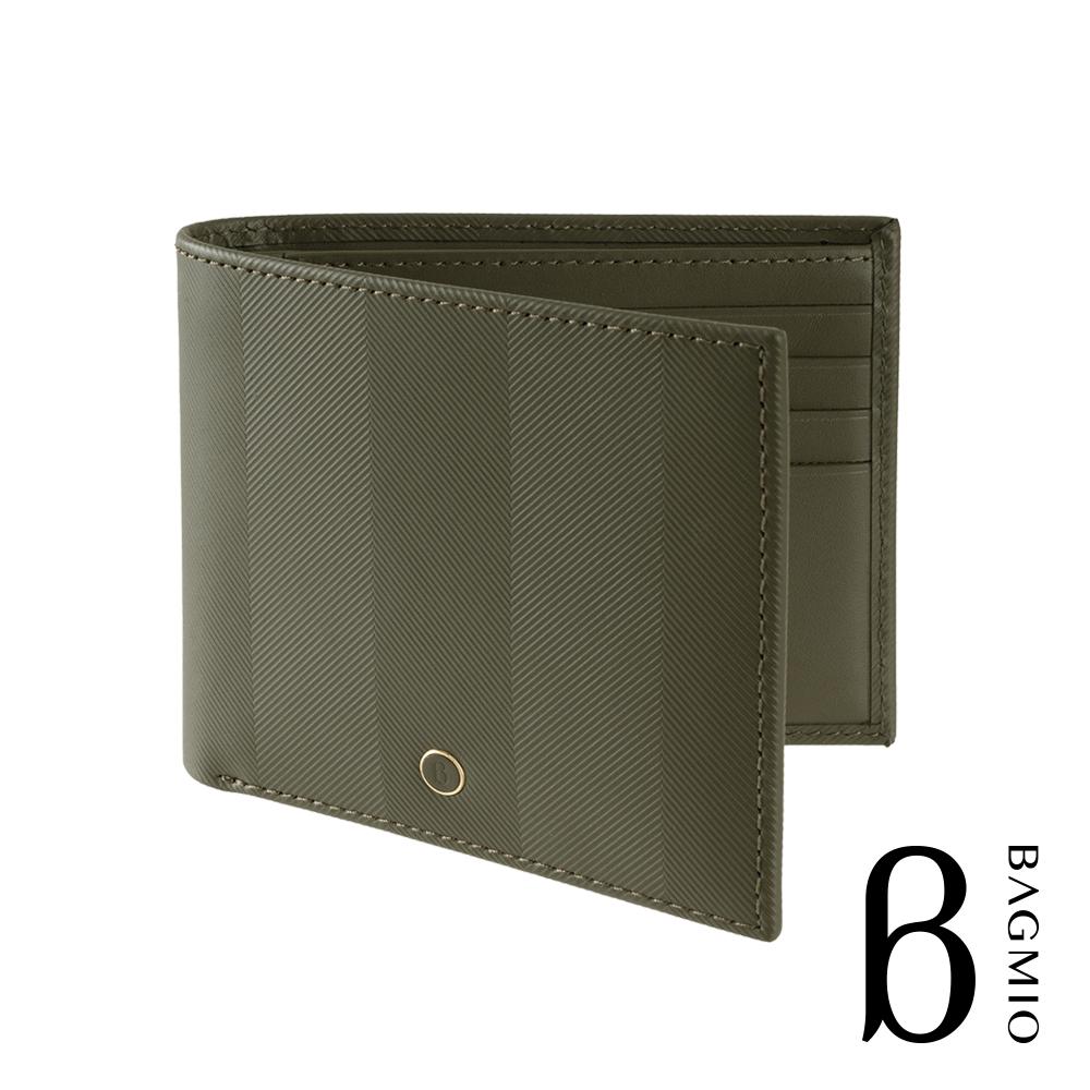 BAGMIO authentic 人字紋牛皮8卡短夾 橄欖綠